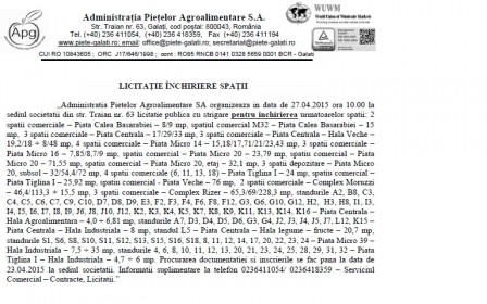 Administratia Pietelor Agroalimentare - ANUNT